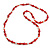Red/ White Glass Bead Long Necklace - 84cm Long