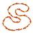 Peach Orange/ White Glass Bead Long Necklace - 84cm Long