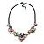 Pastel Multicoloured Matte Enamel Flower Cluster Clear Crystal Necklace In Black Tone - 42cm L/ 5cm Ext - view 3