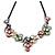 Pastel Multicoloured Matte Enamel Flower Cluster Clear Crystal Necklace In Black Tone - 42cm L/ 5cm Ext