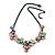 Pastel Multicoloured Matte Enamel Flower Cluster Clear Crystal Necklace In Black Tone - 42cm L/ 5cm Ext - view 4
