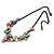 Pastel Multicoloured Matte Enamel Flower Cluster Clear Crystal Necklace In Black Tone - 42cm L/ 5cm Ext - view 6