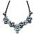 Violet Blue/ Light Blue Metallic Matte Enamel Flower Cluster Clear Crystal Necklace In Black Tone - 42cm L/ 5cm Ext