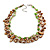 3 Strand Brown/ Green Shell Nugget and Topaz Crystal Bead Necklace with Silver Tone Closure - 50cm L/ 6cm Ext