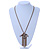 Vintage Inspired Square Tassel Pendant with Double Chain Necklace In Antitque Gold Tone - 68cm L/ 6cm Ext - view 3