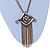 Vintage Inspired Square Tassel Pendant with Double Chain Necklace In Antitque Gold Tone - 68cm L/ 6cm Ext - view 9