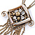 Vintage Inspired Square Tassel Pendant with Double Chain Necklace In Antitque Gold Tone - 68cm L/ 6cm Ext - view 5