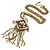 Vintage Inspired Square Tassel Pendant with Double Chain Necklace In Antitque Gold Tone - 68cm L/ 6cm Ext - view 8