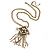 Vintage Inspired Square Tassel Pendant with Double Chain Necklace In Antitque Gold Tone - 68cm L/ 6cm Ext - view 2