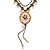 Vintage Inspired Pink enamel Floral Pendant with Bronze Tone Chain Necklace - 40cm L/ 8cm Ext - view 8