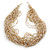 Chunky Gold/ White/ Transparent Glass Bead Bib Necklace - 64cm L - view 7