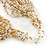 Chunky Gold/ White/ Transparent Glass Bead Bib Necklace - 64cm L - view 4