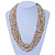 Chunky Gold/ White/ Transparent Glass Bead Bib Necklace - 64cm L - view 2