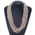 Chunky Gold/ White/ Transparent Glass Bead Bib Necklace - 64cm L - view 6