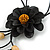 Black Leather Daisy Pendant with Long Cotton Cord - 80cm L - Adjustable - view 3