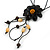 Black Leather Daisy Pendant with Long Cotton Cord - 80cm L - Adjustable - view 7