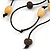 Black Leather Daisy Pendant with Long Cotton Cord - 80cm L - Adjustable - view 5