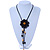 Black Leather Daisy Pendant with Long Cotton Cord - 80cm L - Adjustable - view 2