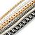 Long Multistrand Chain Necklace (Gold/ Gun/ Silver Tone) - 96cm L - view 3