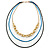 3 Strand, Layered Oval Link, Box Style Chain Necklace In Black/ Light Blue/ Gold Tone - 86cm L - view 6