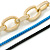 3 Strand, Layered Oval Link, Box Style Chain Necklace In Black/ Light Blue/ Gold Tone - 86cm L - view 3