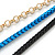 3 Strand, Layered Oval Link, Box Style Chain Necklace In Black/ Light Blue/ Gold Tone - 86cm L - view 5