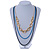 3 Strand, Layered Oval Link, Box Style Chain Necklace In Black/ Light Blue/ Gold Tone - 86cm L - view 2