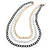 3 Strand, Layered Textured Oval Link Necklace (Black/ Light Silver/ Gold Tone) - 86cm L - view 1