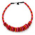Orange/ Pink/ Red Button, Round Wood Bead Wire Choker Necklace - 42cm L