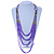 Long Multistrand Stone, Glass Bead, Sea Shell with Suede Cord Necklace (Purple, Grey, Metallic) - 110cm L/ 120cm L- Adjustable - view 2
