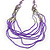 Long Multistrand Stone, Glass Bead, Sea Shell with Suede Cord Necklace (Purple, Grey, Metallic) - 110cm L/ 120cm L- Adjustable - view 6