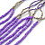 Long Multistrand Stone, Glass Bead, Sea Shell with Suede Cord Necklace (Purple, Grey, Metallic) - 110cm L/ 120cm L- Adjustable - view 3