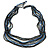 Long Multistrand Glass Bead Necklace (Black, Grey, Blue and Peacock) - 100cm L - view 6