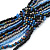 Long Multistrand Glass Bead Necklace (Black, Grey, Blue and Peacock) - 100cm L - view 3