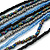 Long Multistrand Glass Bead Necklace (Black, Grey, Blue and Peacock) - 100cm L - view 4