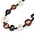 Black/ Brown/ White Open Cut Bone Rings and Glass Bead Necklace - 78cm L - view 4