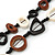 Black/ Brown/ White Open Cut Bone Rings and Glass Bead Necklace - 78cm L - view 3