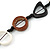 Black/ Brown/ White Open Cut Bone Rings and Glass Bead Necklace - 78cm L - view 5