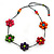 Long Multicoloured Wooden Flower Black Cotton Cord Necklace - 74cm L