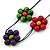 Long Multicoloured Wooden Flower Black Cotton Cord Necklace - 74cm L - view 3