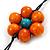 Long Multicoloured Wooden Flower Black Cotton Cord Necklace - 74cm L - view 5