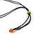 Long Multicoloured Wooden Flower Black Cotton Cord Necklace - 74cm L - view 4