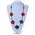 Long Multicoloured Wooden Flower Black Cotton Cord Necklace - 74cm L - view 2
