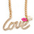 Gold Plated Clear Crystal 'Love' Necklace - 46cm L/ 6cm Ext