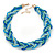 Blue/ Azure/ Light Green Mesh Chain and Silk Cords Choker Necklace In Gold Tone - 42cm L/ 8cm Ext - view 1