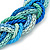 Blue/ Azure/ Light Green Mesh Chain and Silk Cords Choker Necklace In Gold Tone - 42cm L/ 8cm Ext - view 3