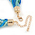 Blue/ Azure/ Light Green Mesh Chain and Silk Cords Choker Necklace In Gold Tone - 42cm L/ 8cm Ext - view 4
