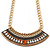 Tribal Jewelled Chain Collar Necklace In Gold Tone - 40cm L/ 5cm Ext
