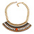 Tribal Jewelled Chain Collar Necklace In Gold Tone - 40cm L/ 5cm Ext - view 6