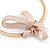 Statement Flower Gold Plated Metal Bar with Silk Ribbon Choker Necklace - Adjustable - view 5